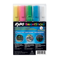 EXPO® Bright Sticks® Wet-Erase Fluorescent Markers, Assorted Colors, Pack Of 5