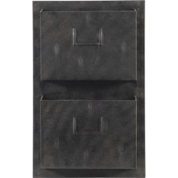 """Linon Home Décor Products Gadsden Industrial 2-Slot Vertical Home Office Metal Mailbox, 23""""H x 14-3/4""""W x 4""""D, Gray"""