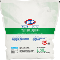 Clorox Healthcare Hydrogen Peroxide Cleaner Disinfectant Wipes - Wipe - 185 / Pack - 100 / Bundle - White