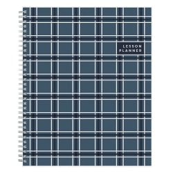 "Blue Sky™ Teacher Weekly/Monthly Academic Planner, 8 1/2"" x 11"", Blue Plaid, July 2019 to June 2020"