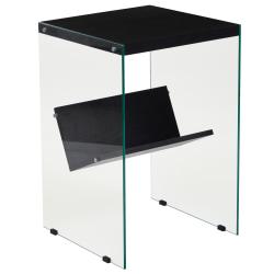 "Flash Furniture End Table With Shelf, 24""H x 16""W x 15-1/2""D, Clear/Dark Ash"