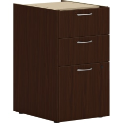 "HON 15"" Vertical 3-Drawer File Cabinet Support Pedestal, Worksurface, Mahogany"