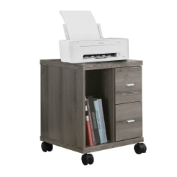 "Monarch Specialties 18""D Vertical 2-Drawer Mobile Office Cabinet, Dark Taupe"