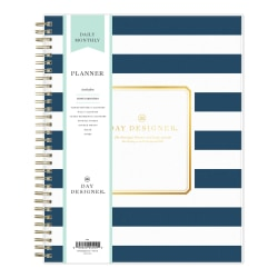 "Blue Sky™ Day Designer Daily/Monthly PP Planner, 8"" x 10"", Navy Stripe, January To December 2021, 103622"