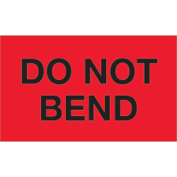 """Tape Logic® Preprinted Shipping Labels, DL1087, Do Not Bend, Rectangle, 3"""" x 5"""", Fluorescent Red, Roll Of 500"""