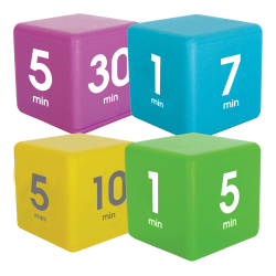 Datexx Time Cube® Preset Timers, Blue/Green/Purple/Yellow, Pre-K - College, Pack Of 4