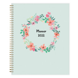 """Blue Sky™ Frosted Weekly/Monthly Safety Wirebound Planner, 8-1/2"""" x 11"""", Laurel, January To December 2022"""