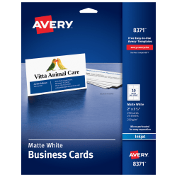 "Avery® Inkjet Microperforated Business Cards, Sure Feed™ Technology, 2"" x 3 1/2"", Matte White, Pack Of 250"
