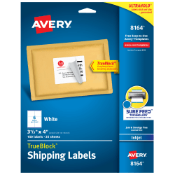 "Avery® TrueBlock® Permanent Inkjet Shipping Labels, 8164, 3 1/3"" x 4"", White, Pack Of 150"