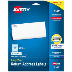 "Avery® Easy Peel® White Inkjet Address Labels, Return, 8167, 1/2"" x 1 3/4"", Box Of 2,000"