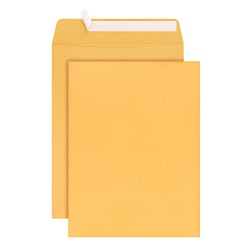 "Office Depot® Brand Clean Seal™ Catalog Envelopes, 9"" x 12"", Brown Kraft, Pack Of 100"