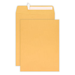 "Office Depot® Brand Clean Seal™ Catalog Envelopes, 10"" x 13"", Kraft Brown, Pack Of 100"