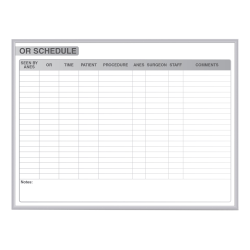 """Ghent OR Schedule Magnetic Dry-Erase Whiteboard, 48"""" x 96"""", Silver Aluminum Frame"""