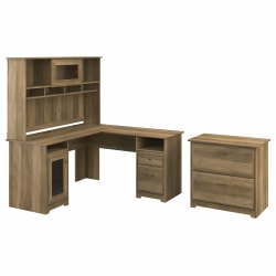 """Bush Furniture Cabot 60""""W L-Shaped Computer Desk With Hutch And Lateral File Cabinet, Reclaimed Pine, Standard Delivery"""