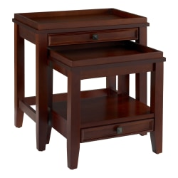 """Linon Home Decor Products Ashville Nesting Tables, 24""""H x 24""""W x 16-1/2""""D, Cherry, Set Of 2 Tables"""