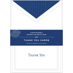 "Gartner Studios® Thank You Cards, 5 1/4"" x 3 3/4"", White With Blue Accents, Pack Of 20"