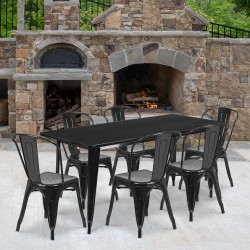 """Flash Furniture Commercial-Grade Rectangular Metal Table Set With 6 Stack Chairs, 29-1/2""""H x 31-1/2""""W x 63""""D, Black"""