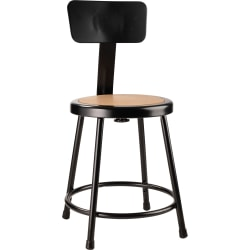 "National Public Seating Hardboard Stool With Back, 18""H, Black"