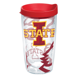 Tervis Genuine NCAA Tumbler With Lid, Iowa State Cyclones, 16 Oz, Clear