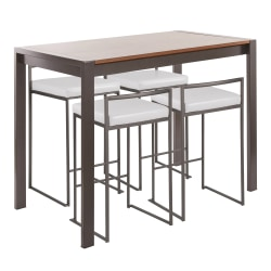 LumiSource Fuji Industrial Counter-Height Dining Table With 4 Stools, Antique Metal/Walnut/White