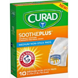"""Curad SoothePlus Medium Non-stick Pads - 3"""" x 4"""" - 10/Box - White"""
