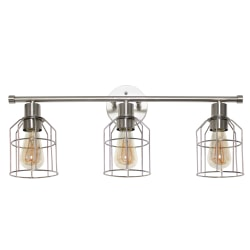 """Lalia Home 3-Light Industrial Wired Vanity Light, 10-1/2""""H, Brushed Nickel"""