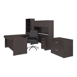 """Bush Business Furniture Studio C 72""""W x 36""""D U Shaped Desk with Hutch Bookcase File Cabinets and Mid Back Office Chair, Storm Gray, Standard Delivery"""