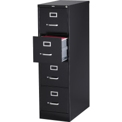 "Lorell® Fortress 26-1/2""D Vertical 4-Drawer Letter-Size File Cabinet, Metal, Black"