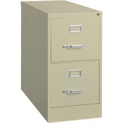 """Lorell® Fortress 26-1/2""""D Vertical 2-Drawer Letter-Size File Cabinet, Metal, Putty"""