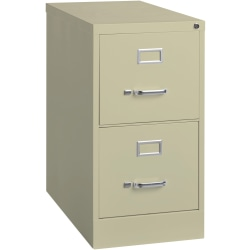 "Lorell® Fortress 25""D Vertical 2-Drawer Letter-Size File Cabinet, Metal, Putty"
