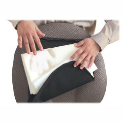 "Master Memory-Foam Lumbar Support Cushion, 7 1/2""H x 12 1/2""W x 2 1/2""D, Black"