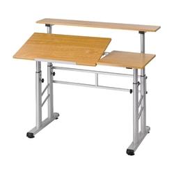 Safco® Height-Adjustable Split-Level Drafting Table, Medium Oak