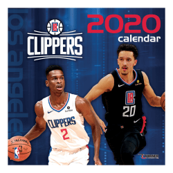 "Turner Licensing Monthly Wall Calendar, 12"" x 12"", Los Angeles Clippers, 2020"
