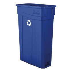 """Suncast Commercial Narrow Rectangular Resin Trash Can, 23 Gallons, 30""""H x 11""""W x 20""""D, Blue Recycle"""
