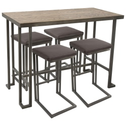 Lumisource Roman Industrial Counter-Height Table With 4 Stools, Antique/Brown