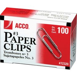 ACCO® Economy Paper Clips, No. 3 Size, Silver, 100 Per Box, Pack Of 10 Boxes