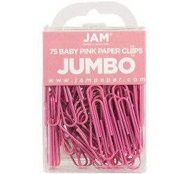 "JAM Paper® Paper Clips, Jumbo, 2"", 25-Sheet Capacity, Pink, Pack Of 75"