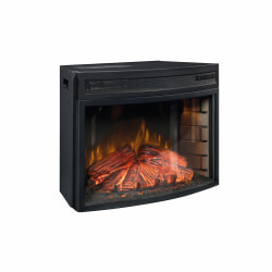 """Sauder® Palladia Curved Fireplace Insert For Credenza, 18-1/2""""H x 26""""W x 13-1/8""""D, Black"""