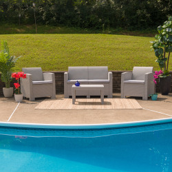 Flash Furniture 4-Piece Outdoor Faux-Rattan Chair, Loveseat and Table Set, Light Gray