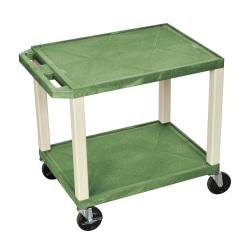 "H. Wilson 26"" Plastic Utility Cart, 26""H x 24""W x 18""D, Green"