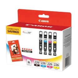 Canon CLI-226 ChromaLife 100+ Black/Color Ink Tanks & 50 Sheets Of Paper (4546B007)