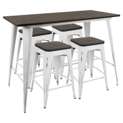 Lumisource Oregon Industrial Counter Table With 4 Counter Stools, No-Back Stools, Vintage White/Espresso