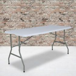 "Flash Furniture Bi-Fold Plastic Banquet And Event Folding Table, 28-1/4""H x 27-1/4""W x 59-3/4""D, Granite White"