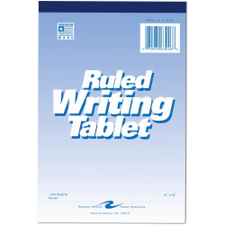 """Roaring Spring Ruled Writing Tablets - 100 Sheets - Glued/Tapebound - 15 lb Basis Weight - 6"""" x 9"""" - White Paper - White Cover - Chipboard Cover - Chipboard Backing - 1Each"""