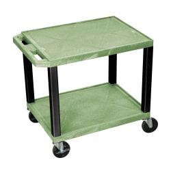 "H. Wilson 26"" Plastic Utility Cart, 26""H x 24""W x 18""D, Green/Black"
