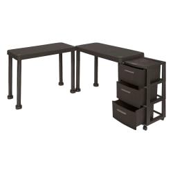 Inval Multi-Desk Set With Rolling Storage Cart, Espresso