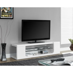 """Monarch Specialties Glossy TV Stand For TVs Up To 60"""", White"""