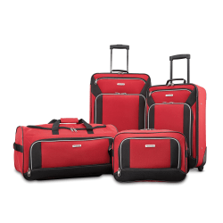 American Tourister® Fieldbrook XLT 4-Piece Luggage Set, Black/Red