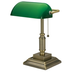 "Realspace™ Traditional Banker's LED Lamp, 14-3/4""H, Green/Antique Brass"