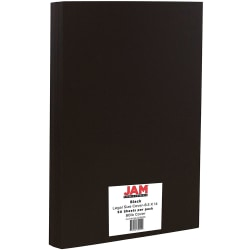 """JAM Paper® Cover Card Stock, Legal Size (8-1/2"""" x 14""""), 80 Lb, Black, Pack Of 50 Sheets"""